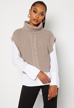 BUBBLEROOM Nanja knitted vest Dark beige bubbleroom.no
