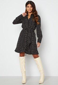 BUBBLEROOM Omarah shirt dress Black / Beige / Dotted bubbleroom.no