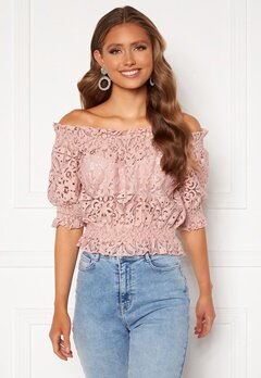 BUBBLEROOM Peaches off shoulder top Dusty pink Bubbleroom.no