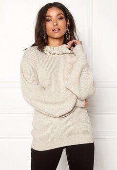 BUBBLEROOM Sally knitted sweater Beige melange Bubbleroom.no