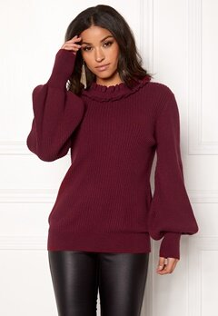 BUBBLEROOM Sally knitted sweater Wine-red Bubbleroom.no