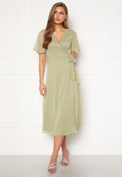 BUBBLEROOM Scarlette midi dotted dress Dusty green Bubbleroom.no