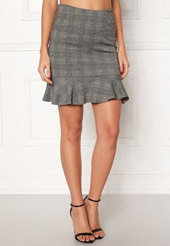 BUBBLEROOM Serena flounce skirt Grey / Yellow / Checked Bubbleroom.no