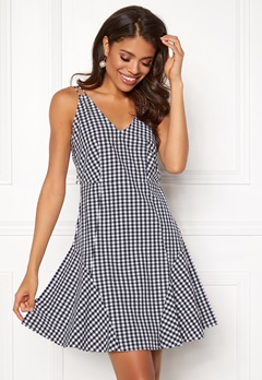 BUBBLEROOM Sienna flounce dress Black / White / Checked Bubbleroom.no