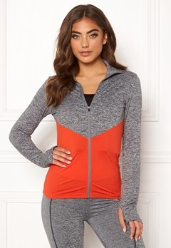BUBBLEROOM SPORT Burpees then slurpees sport jacket Grey melange / Red Bubbleroom.no