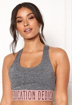 BUBBLEROOM SPORT Crave it sport bra Dark grey melange / Pink / Print Bubbleroom.no