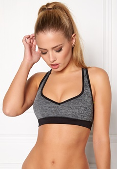 BUBBLEROOM SPORT Strong soft sports bra Dark grey melange Bubbleroom.no