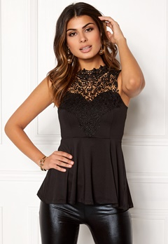 BUBBLEROOM Tamale peplum top Black Bubbleroom.no