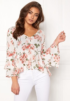 BUBBLEROOM Thea flounce top White / Floral Bubbleroom.no