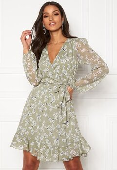 BUBBLEROOM Theia wrap dress Dusty green / Floral Bubbleroom.no