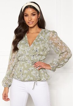 BUBBLEROOM Theia wrap top Dusty green / Floral Bubbleroom.no