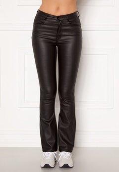 BUBBLEROOM Tove high waist coated flared jeans Black Bubbleroom.no