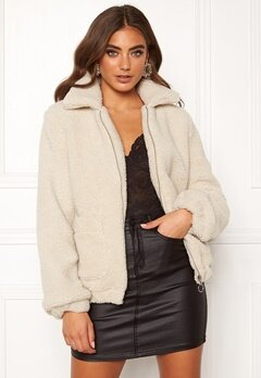 BUBBLEROOM Tove teddy jacket Light beige Bubbleroom.no