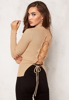 BUBBLEROOM Understated knitted rib polo Beige Bubbleroom.no