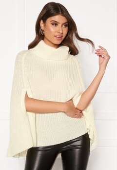 BUBBLEROOM Vanna knitted poncho Cream Bubbleroom.no