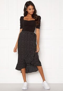 BUBBLEROOM Villima midi skirt Black / White / Dotted Bubbleroom.no