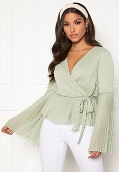 BUBBLEROOM Wenna pleated top Dusty green Bubbleroom.no
