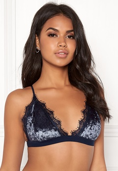 BUBBLEROOM Wilda velvet bra Dark blue Bubbleroom.no