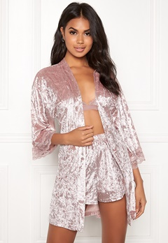 BUBBLEROOM Wilda velvet robe Dusty pink Bubbleroom.no