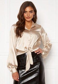 BUBBLEROOM Zamira puff sleeve shirt Champagne Bubbleroom.no