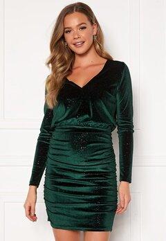 BUBBLEROOM Hillie sparkling velvet dress Green Bubbleroom.no