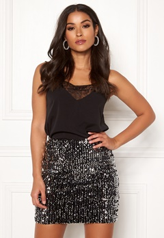 BUBBLEROOM Nera sequin skirt Black / Silver Bubbleroom.no