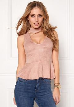 BUBBLEROOM Gossip suede top Dusty pink Bubbleroom.no