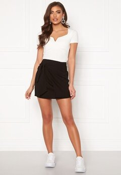 BUBBLEROOM Pacey front tie skirt Black Bubbleroom.no