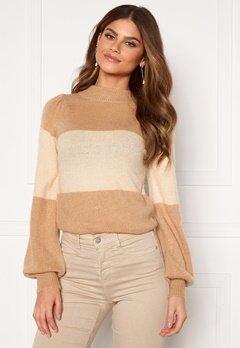 BUBBLEROOM Linette block knitted sweater Light beige Bubbleroom.no