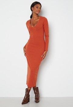 BUBBLEROOM Majda long sleeve dress Rust Bubbleroom.no