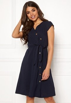 Blue Vanilla Button Through Midi Dress Navy Bubbleroom.no