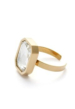 BY JOLIMA Sabina Square Ring Crystal Gold Bubbleroom.no