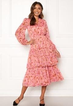 byTiMo Chiffon Layered Dress 876 Pink Garden Bubbleroom.no