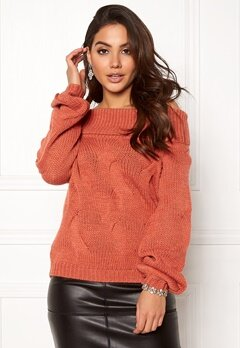 VILA Cabla Knit Offshoulder Redwood Bubbleroom.no
