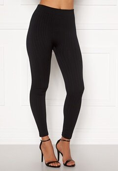 Blue Vanilla Cable Knit Legging Black Bubbleroom.no