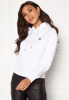 Calvin Klein Jeans CK Embroidery Hoodie Bright White Bubbleroom.no