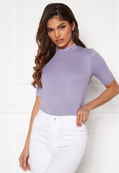 Calvin Klein Jeans Logo Trim Rib Tee Palma Lilac Bubbleroom.no