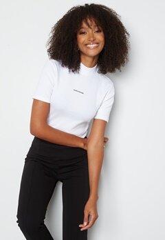 Calvin Klein Jeans Micro Branding Rib Baby Tee YAF Bright White bubbleroom.no