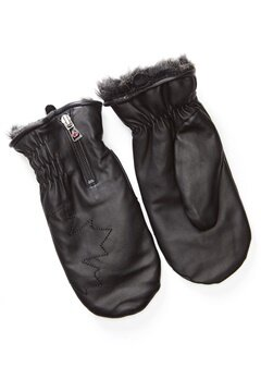Canada Snow Kläppen Leather Mitts Black Bubbleroom.no