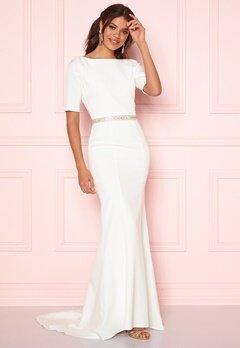 Chi Chi London Demi Diamonte Dress White Bubbleroom.no