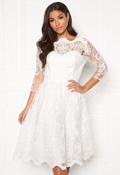 Chi Chi London Floral 3/4 Sleeve Dress White Bubbleroom.no