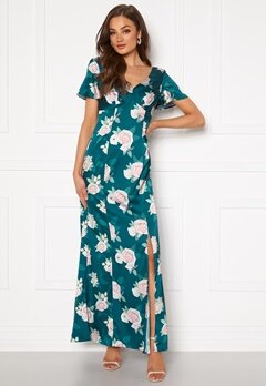 Chi Chi London Meadow Floral Maxi Dress Teal Bubbleroom.no