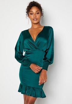 Chiara Forthi Alcine Wrap Flounce Dress Dark green bubbleroom.no