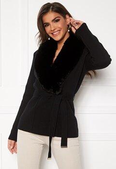 Chiara Forthi Arina heavy knit wrap jacket Black Bubbleroom.no