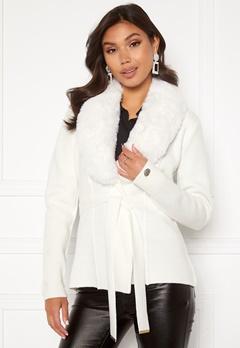Chiara Forthi Arina heavy knit wrap jacket Winter white Bubbleroom.no