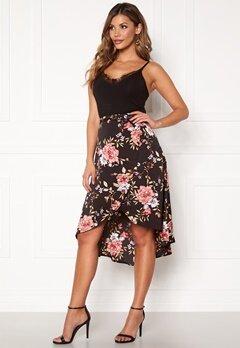 Chiara Forthi Arona wrap skirt Black / Pink / Floral Bubbleroom.no