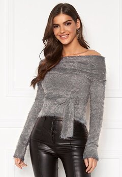 Chiara Forthi Beatricia furry offshoulder sweater Silver grey Bubbleroom.no