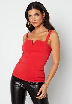 Chiara Forthi Bettina deep v-neck top Dark red bubbleroom.no
