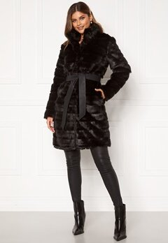 Chiara Forthi Bologna Faux Fur Coat Black Bubbleroom.no