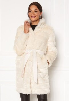 Chiara Forthi Bologna Faux Fur Coat Ivory white Bubbleroom.no